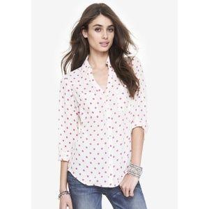 Express Pink polka dot portofino shirt Size XL